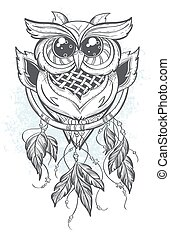 Dreamcatcher vector illustration with owl feathers