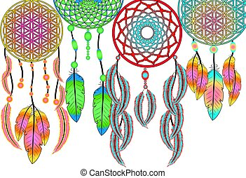 Dreamcatcher with feathers.