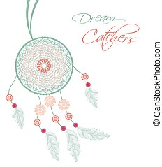 Dreamcatcher with feathers on a white background