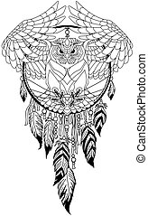 dreamcatcher with flying owl
