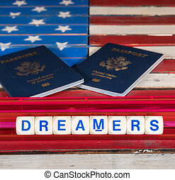 Dreamers concept using spelling letters on US flag