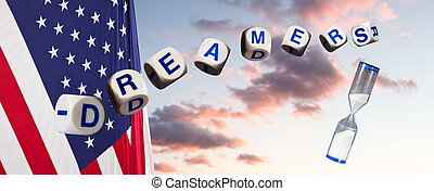 Dreamers in spelling letters against sunset sky and flag and...