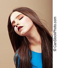 dreaminess., retrato, de, sensual, soñar, morena, con, derecho, pelo marrón