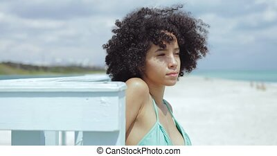 Dreaming black girl on sunny beach - Wonderful young pretty...
