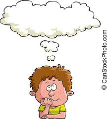 Dreaming child on a white background, vector illustration