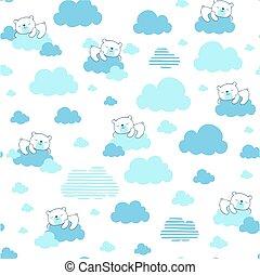 dreaming cute bear on clouds pattern