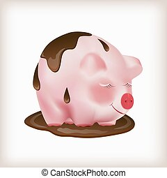Dreaming cute pink pig standing in a puddle of melted black chocolate. Vector illustration.