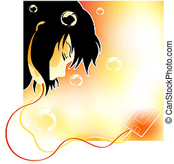 Dreaming dream - Girl with headphones and player sleeping in...