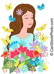 dreaming girl in flowers with flying butterflies around