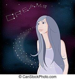 Dreaming girl on night sky background. Vector Illustration.