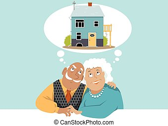 Dreaming of a retirement home - Elderly couple dreaming...
