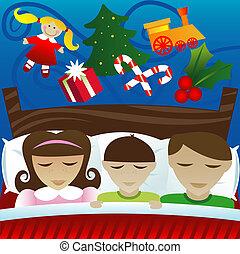 Dreaming of Christmas Morning - Three kids sleep on...