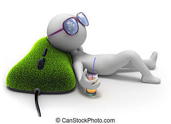 Abstract character lies near computer mouse covered with green grass and dreams of vacation with sun glasses over his eyes and glass of drink in his hand