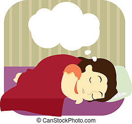 A young woman lying asleep on her bed is shown to be dreaming. The dream is depicted by an empty thought bubble.