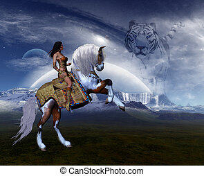 Dreamland 1 - Native Girl riding her stallion to freedom