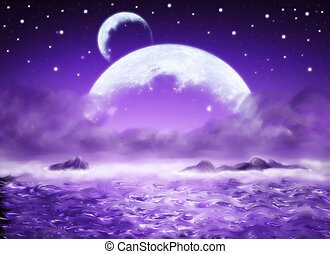 Dreamland - Big planet, purpul water fantasy background,...