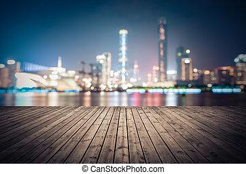 dreamlike, ciudad, plano de fondo, de, guangzhou, contorno, cityscape