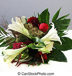 Dreamlike flowers bouquet with roses and lilies - Square...
