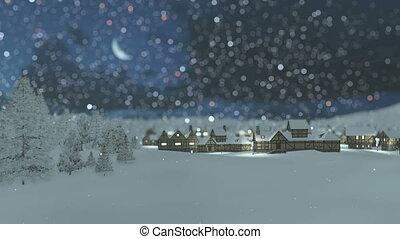 Dreamlike snowy township at night
