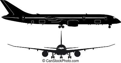 dreamliner, boeing-787, silueta