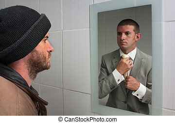 Unemployed man looking in mirror and seeing aspirations of a better future