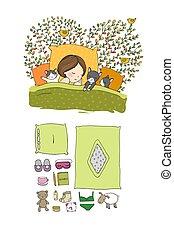 dreams., buono, illustration., dolce, bed., letto, time., vettore, sonno, gatti, ragazza, night.
