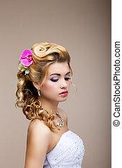 dreams., desire., pensativo, luxuoso, noiva, loiro, -,...