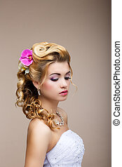 Dreams. Desire. Thoughtful Luxurious Bride Blonde - Gorgeous Hair Style. Purity