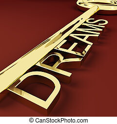 Dreams Gold Key Representing Hopes And Visions