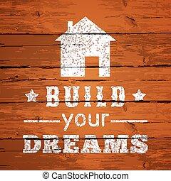 dreams., manifesto, -, tipografico, illustrazione, vettore, disegno, costruire, tuo