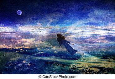 Dreams of Flying - Woman flying over dreamy landscape in a...