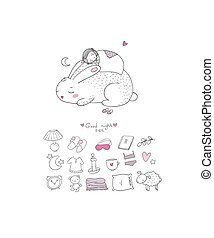 dreams., sleep., bom, cute, doce, set., dormir, tempo, rabbit., menina, animals., caricatura, night.