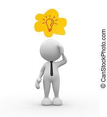 Dreams - 3d people - man, person who dreams. Light bulb