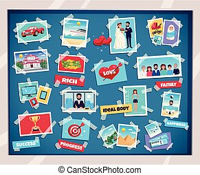Dreams vision board with success and family symbols flat isolated vector illustration