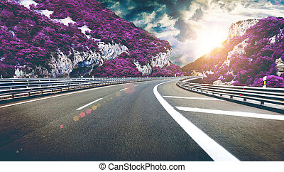 Dreamscape. Road or highway between the mountains