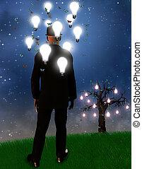 Dreamscape - Surreal landscape with man and idea bulbs