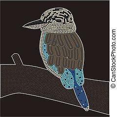 Dreamtime - kookaburra - aboriginal dot painting style