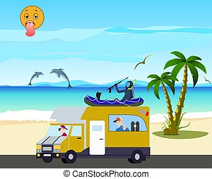 dreamy and happy driver going to the sea