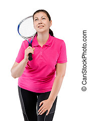 dreamy athlete with a tennis racket on a white background
