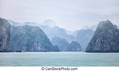 Dreamy blurred seascape background of Halong Bay, Vietnam