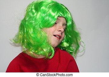 Dreamy Boy in Green Wig