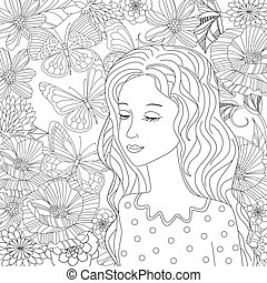 dreamy girl with eyes closed in flowering garden for your colori