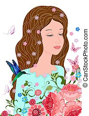 dreamy girl with eyes closed in flowering garden for your design