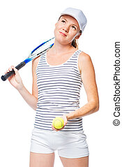 Dreamy look of a female tennis player on a white background