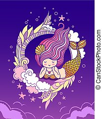 Dreamy lying mermaid with an iridescent golden tail on violet bacground.