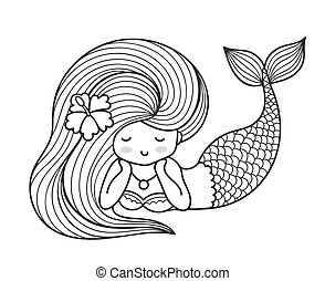 Dreamy lying mermaid with long curly hair.