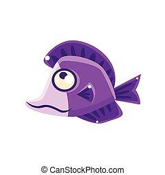 Dreamy Violet Fantastic Aquarium Tropical Fish Cartoon Character