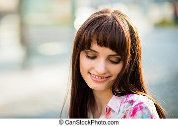 Dreamy woman portrait - Portrait of smiling woman looking...