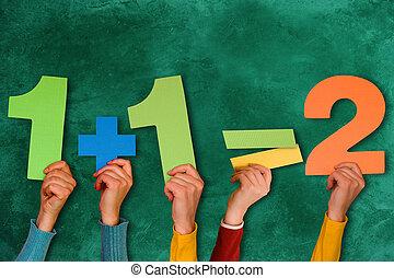 dreckige , gegen, tafel, gleichung, einfache , mathematisch