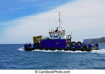 Dredge big boat to drag marine bottom - Dredge on the sea,...